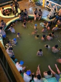 Shower caps in a hot tub, Banos, Ecuador
